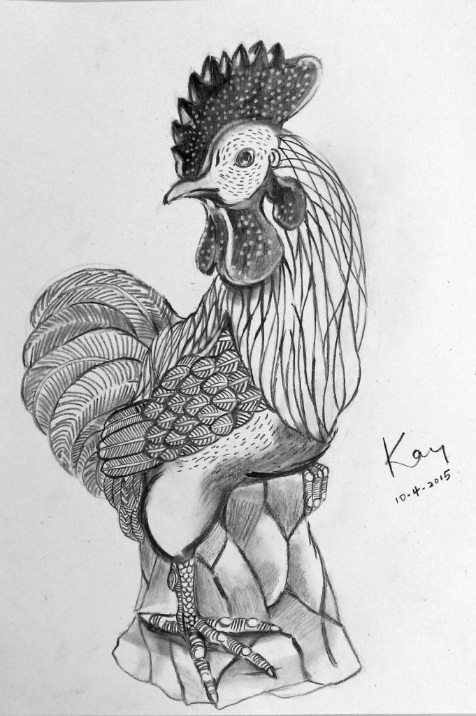 鸡新年手绘画
