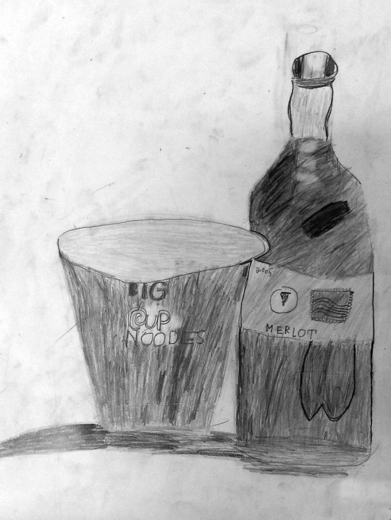 酒瓶子结构素描
